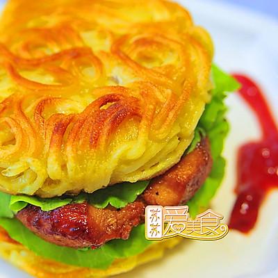 风靡日本的拉面汉堡【南瓜面鸡肉堡】——中式改良版