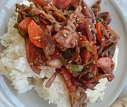 洋葱炒羊肉拌饭的做法