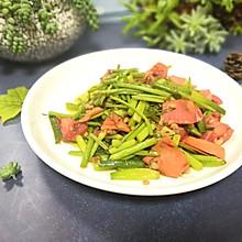 #精品菜谱挑战赛#空心菜根炒蒜苔