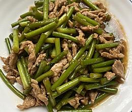 #中秋宴,名厨味#蒜苔炒肉丝的做法