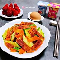 #元宵节美食大赏#黄瓜胡萝卜炒腊肠的做法图解13