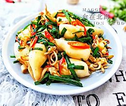 韭菜炒小鱿鱼的做法