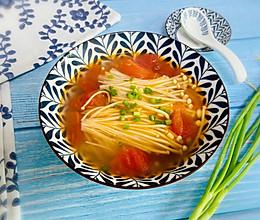#快手又营养,我家的冬日必备菜品#番茄金针菇汤的做法