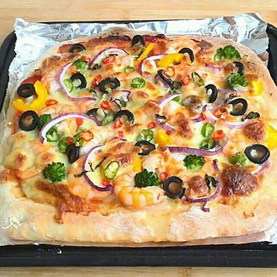 鲜虾披萨(格兰仕立式烤箱试用报告3)