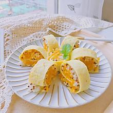 #秋天怎么吃#剩米饭好去处—南瓜米饭蛋卷