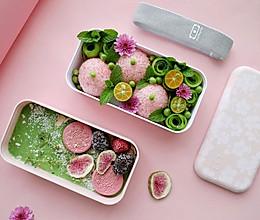 #monbento为减脂季撑腰#抹茶白巧奶冻+樱花肉松饭团的做法