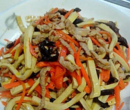 胡萝卜千张肉丝的做法