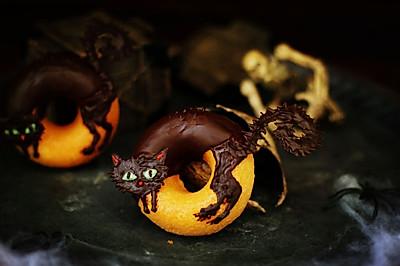 万圣节炸毛猫—巧克力甜甜圈—长帝空气烤箱CRWF42NE试用