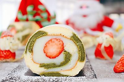 宝宝甜品 圣诞草莓蛋糕卷