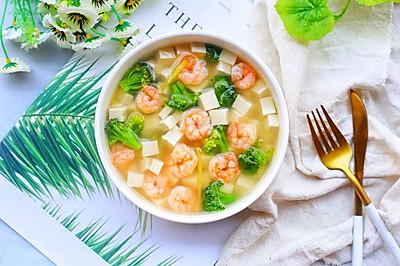 低脂营养的西兰花虾仁豆腐汤