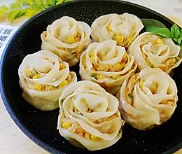 新猪肉玉米玫瑰煎饺的做法
