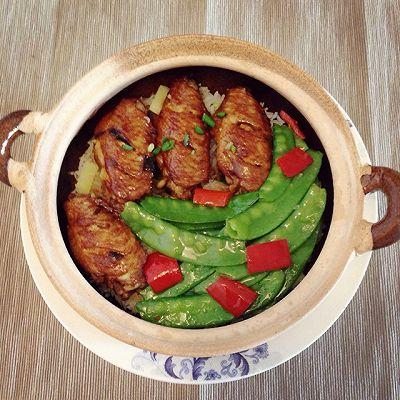 鸡翅荷兰豆煲仔饭