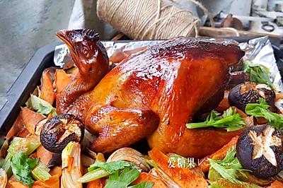 杂蔬烤鸡#令人羡慕的圣诞大餐#
