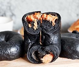 竹炭肉松贝果的做法