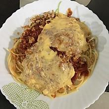 芝士肉酱干虾米焗意粉
