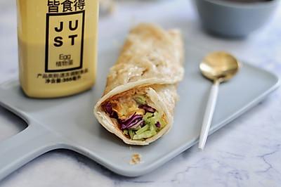 #植物蛋 美味尝鲜记#JUST蛋蔬菜沙拉手抓饼