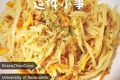 黄椒肉末土豆丝