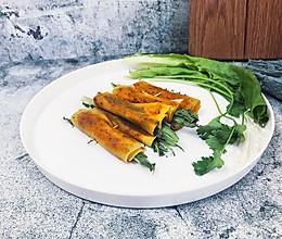 烤箱-烤豆皮卷菜-卷金针菇、油麦菜、香菜的做法