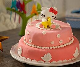 HOLLETKITY粉色双层翻糖蛋糕#九阳烘焙剧场#的做法