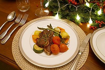 黑椒牛仔骨&烤蔬菜