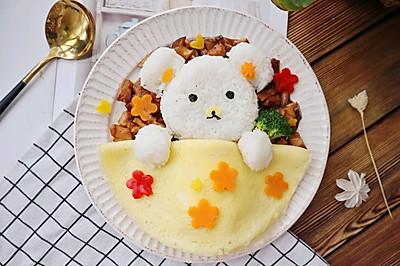 儿童版小熊萌宠香菇鸡丁盖饭❤️酱烧香菇鸡丁