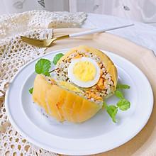 剩饭好去处—蜜桃鸡蛋饭团