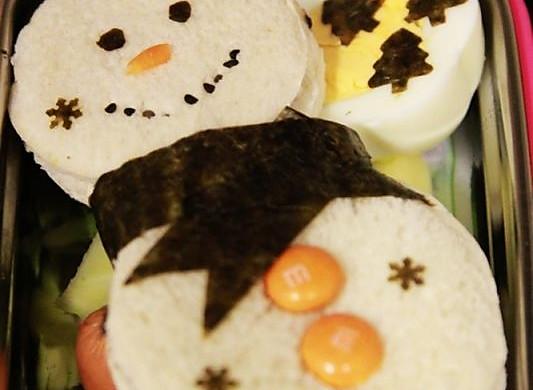 冷食午餐 - 圣诞雪人三明治