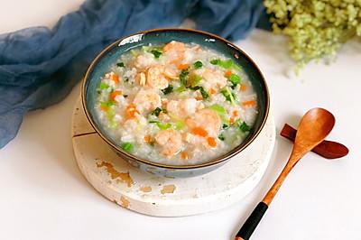 #夏天夜宵High起来!#鸡肉虾仁青菜粥