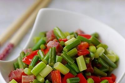 春色满园的蒜苔炒腊丁 —— 春季美食
