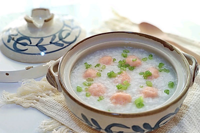 自制虾滑芹菜粥