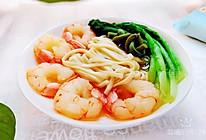 #换着花样吃早餐#鲜嫩虾仁小白菜面条的做法
