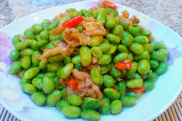 油渣焖毛豆米的做法