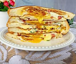 #美食视频挑战赛#免烤箱‼️流心芝士火腿三明治的做法