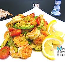 地中海风味小炒:番茄牛油果炒虾