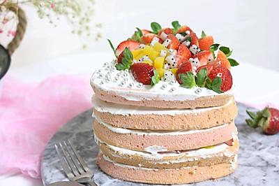 爱心水果裸蛋糕+#重返十八岁的少女心美食#