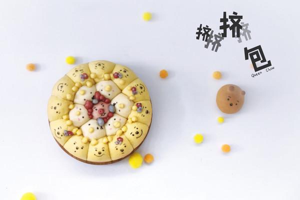 【迪斯尼挤挤卡通面包】维尼紫薯,黑芝麻餐包的做法