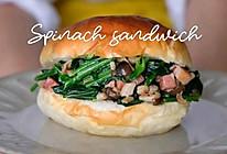 菠菜培根炒菇汉堡的做法