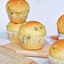 南瓜豌豆面包(一次发酵)#美味烤箱菜,就等你来做!#