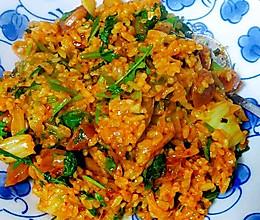 【黑暗料理系列】香菜炒辣白菜炒饭的做法