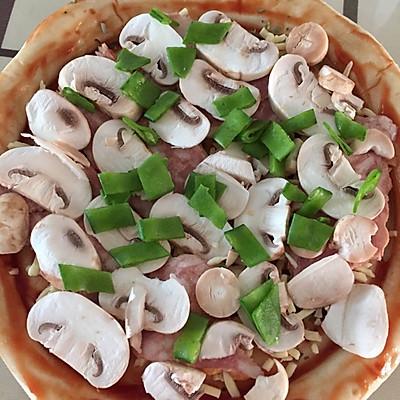 培根蘑菇比萨的做法 步骤5