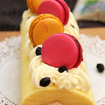 马卡龙奶油蛋糕卷