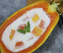 木瓜炖奶,简单美味~的做法