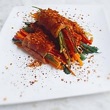 培根时蔬卷#美的微波炉菜谱#