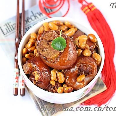 酱色猪蹄炖黄豆