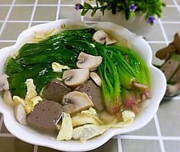 菠菜蘑菇鸭血汤的做法