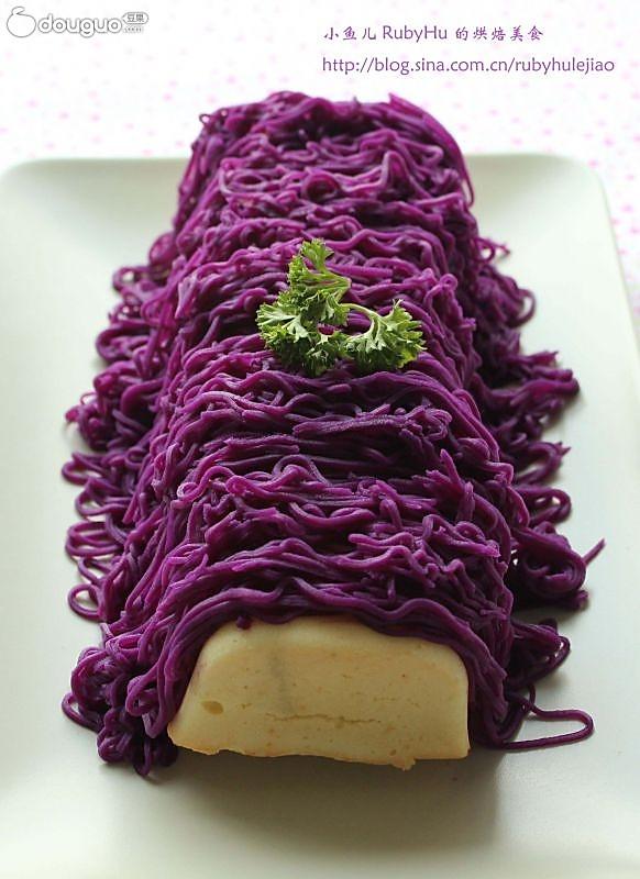 如何巧用纯天然植物色做炫彩西点 --- 紫薯装饰蛋糕条的做法