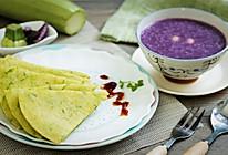 糊塌子配紫薯莲子粥的做法