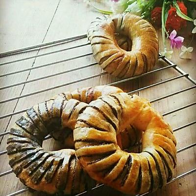 花式豆沙面包卷