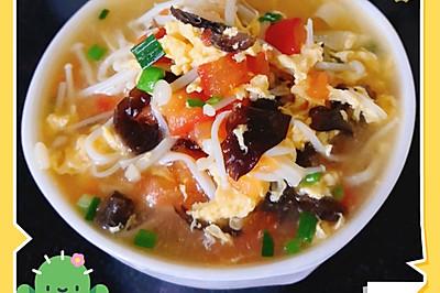 私房独家番茄金针菇豆皮汤