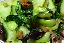 珍珠香菇、干虾仁香炒小油菜的做法